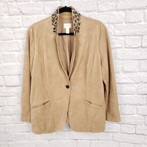 Chico's Tan Brown Faux Suede Leopard Collar Jacket